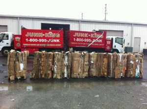 photo by caryn of cardboard bales ready for the recycler