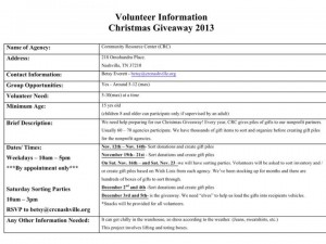 graphic courtesy of the crc of their 2013 volunteer opportunities
