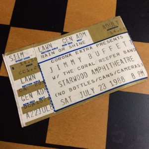 1988 Jimmy Buffett Ticket Stub from Starwood Amphitheater, photo by Caryn